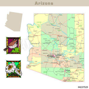 arizona with its Counties colorfully outlined