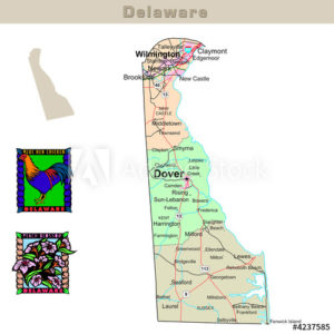 Delaware with its Counties colorfully outlined