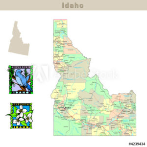 Idaho and its Counties colorfully outlined