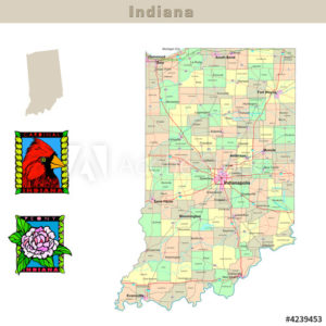 Indiana with its Counties colorfully outlined