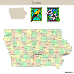 Iowa with its Counties colorfully outlined