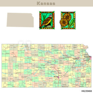 Kansas with its counties colorfully outlined