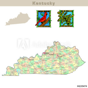 Kentucky with its counties colorfully outlined