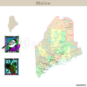 Maine with its counties colorfully outlined
