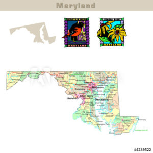 Maryland wi th itsCounties colorfully outlined