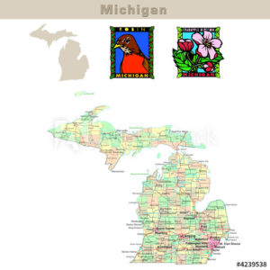 Michigan with its Counties colorfully outlined