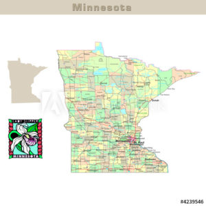 Minnesota with its Counties colorfully outlined