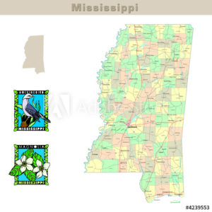 Mississippi with its Counties colorfully outlined