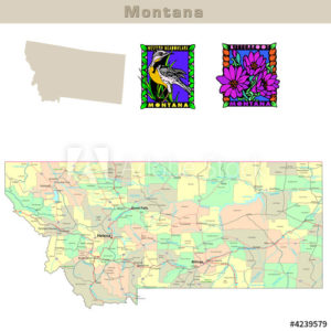 Montana with its Counties colorfully outlined