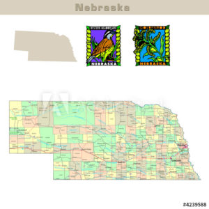 Nebraska with its Counties colorfully outlined