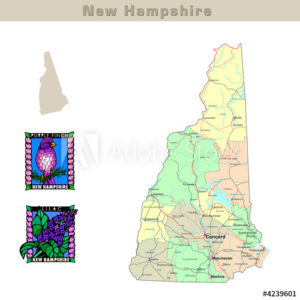 New Hampshire with its Counties colorfully outlined