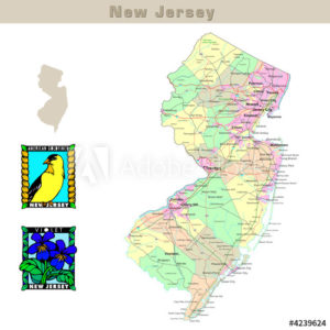 New Jersey with its counties colorfully outlined