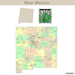 New Mexico and its Counties colorfully outlined