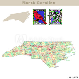 North Carolina with its Counties colorfully outlined
