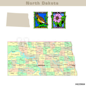 North Dakota with its Counties colorfully outlined