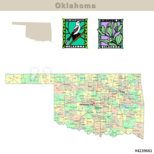 Oklahoma with its Counties colorfully outlined