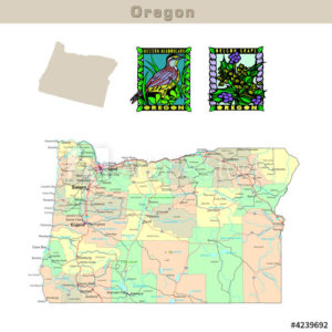 Oregon with its Counties colorfully outlined