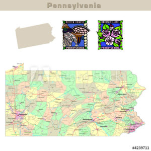 Pennsylvania with its Counties colorfully outlined