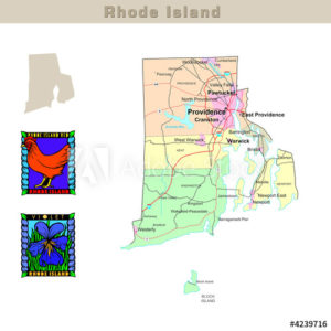Rhode Island with its Counties colorfully outlined