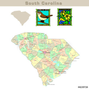 South Carolina with its Counties colorfully outlined