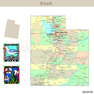 Utah with its Counties colorfully outlined