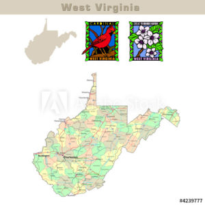 West Virginia and its counties colorfully outlined