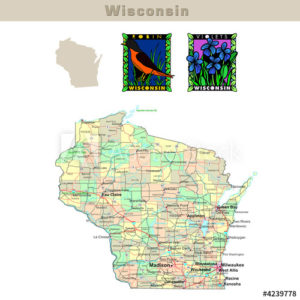 Wisconsin with its Counties colorfully outlined