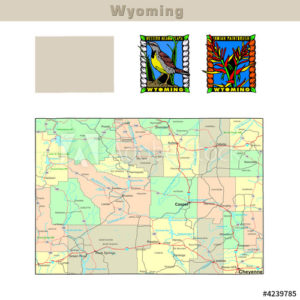Wyoming with its Counties colorfully outlined