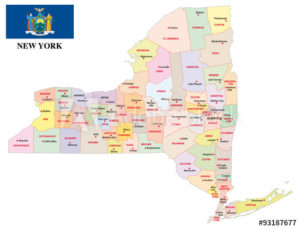 New York with its Counties colorfully outlined